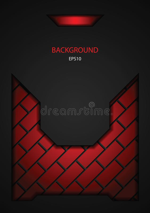 Dark black and red tech brick design. Vector steel metal background vector illustration