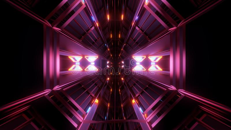 Dark Black Space Tunnel With Glowing Lights 3d Rendering
