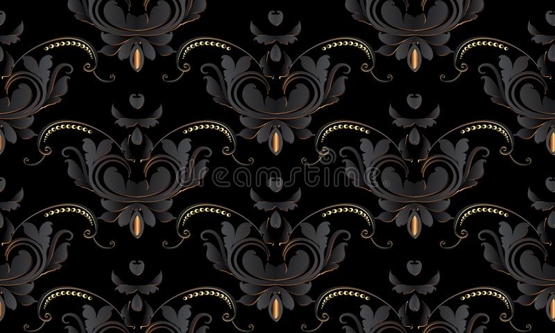Dark black vintage floral seamless pattern. Vector damask background wallpaper with black 3d lily flowers, swirl leaves, golden royalty free illustration