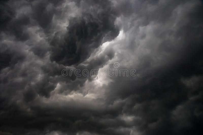 Dark or black and white clouds on the sky before storm raining. Nature cloud background royalty free stock images