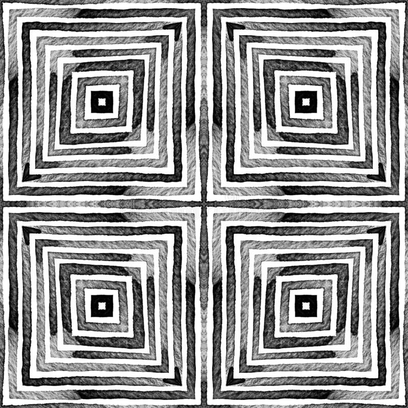 Dark black and white Geometric Watercolor. Dazzlin. G Seamless Pattern. Hand Drawn Stripes. Brush Texture. Rare Chevron Ornament. Fabric Cloth Swimwear Design stock photos