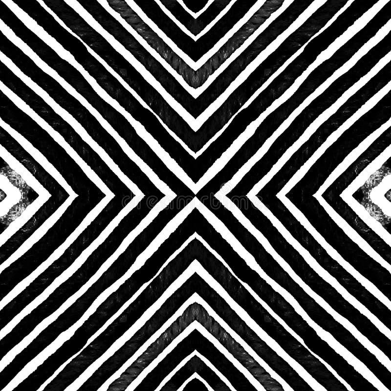 Dark black and white Geometric Watercolor. Dazzlin. G Seamless Pattern. Hand Drawn Stripes. Brush Texture. Stunning Chevron Ornament. Fabric Cloth Swimwear royalty free stock photos