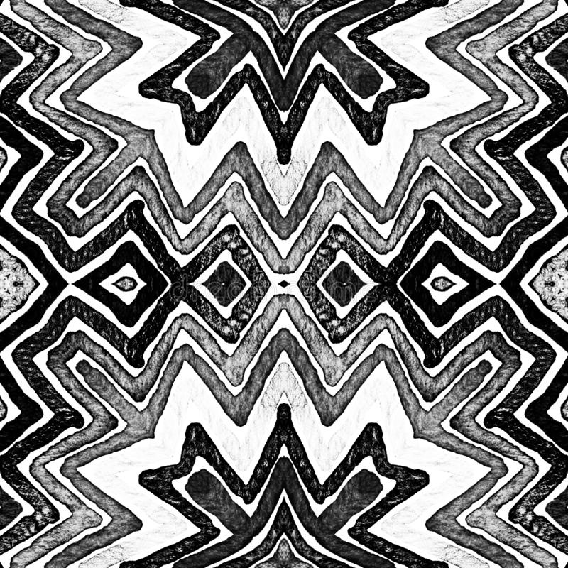 Dark black and white Geometric Watercolor. Decent. Seamless Pattern. Hand Drawn Stripes. Brush Texture. Magnetic Chevron Ornament. Fabric Cloth Swimwear Design stock illustration