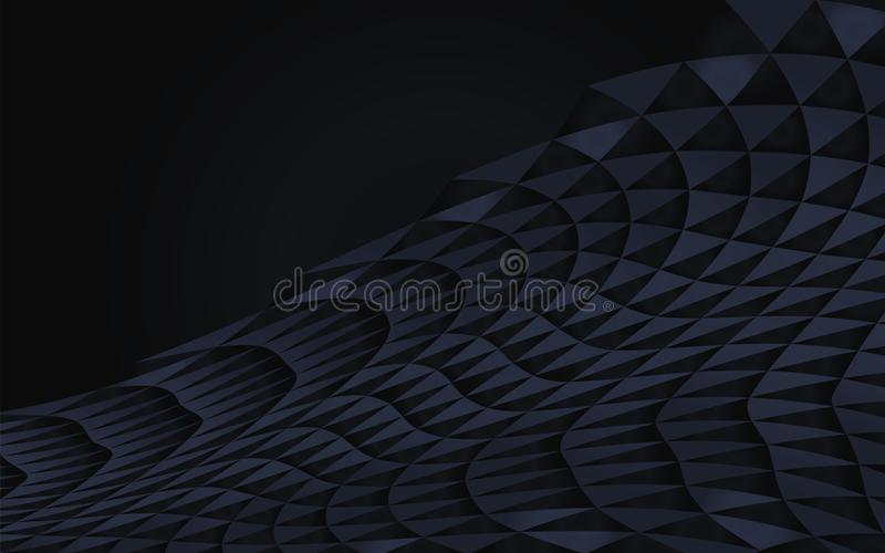 Dark blue abstract geometric curved of triangles vector reserved half-shadow black wave shadow volume horizontal element object de stock illustration
