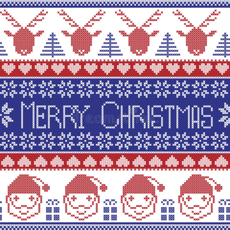 Free Dark Blue And Red Scandinavian Merry Christmas Pattern With Santa Claus, Xmas Presents, Reindeer, Decorative Ornaments, Snowflake Stock Photo - 59166670