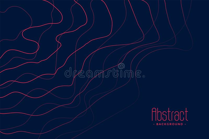 Dark blue background with abstract pink lines. Vector stock illustration