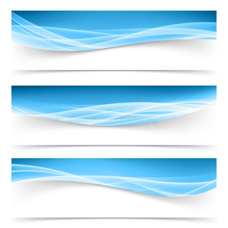 Dark blue border swoosh waves with light soft futuristic white stock illustration