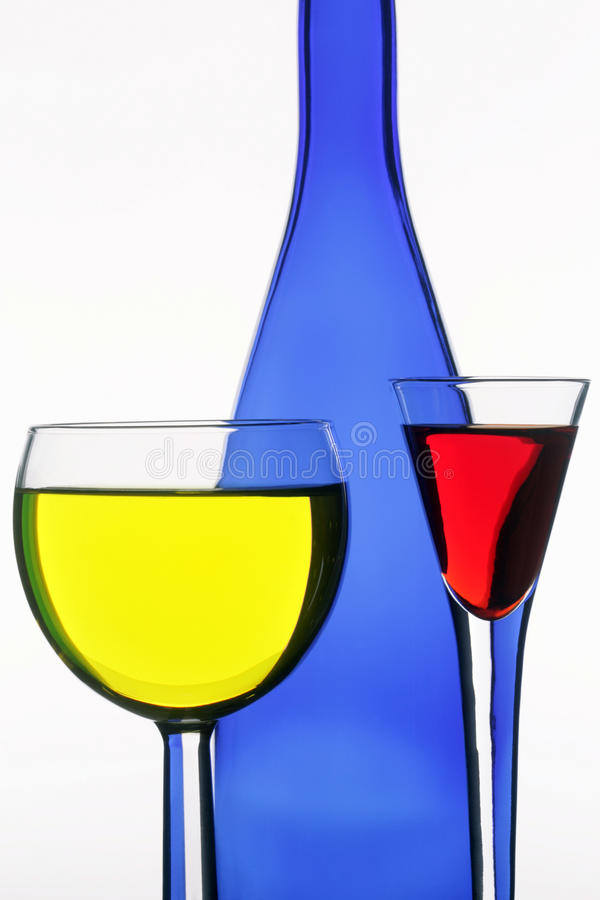 Free Dark Blue Bottle And Two Wine-glasses Stock Photo - 14954590