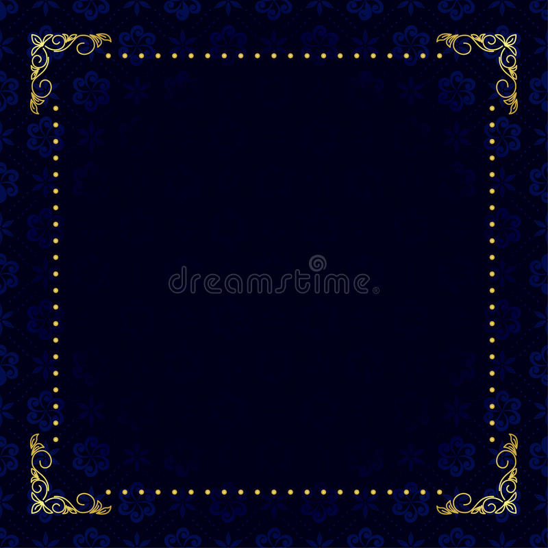 Dark blue card with gold frame - vector