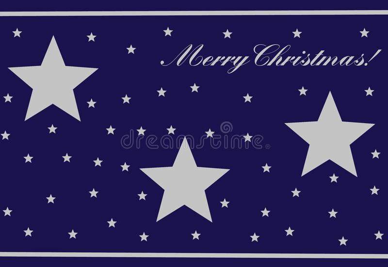 Dark Blue Christmas Card. A dark blue Christmas card with three big stars and a lot of small stars. In the right corner above the words `Merry Christmas vector illustration