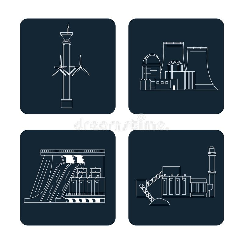 Dark blue color sections set with type of renewable energy stock illustration