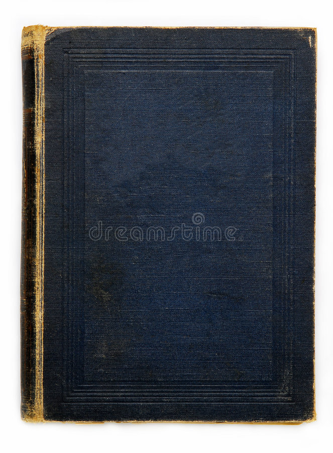 Dark blue cover. Of a very old book stock photography