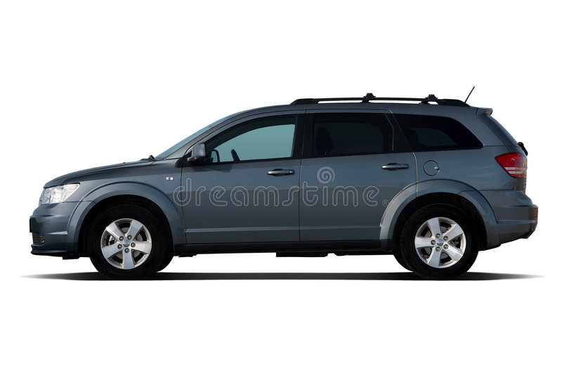Dark-blue crossover. Side view of dark-blue crossover isolated on white royalty free stock photo