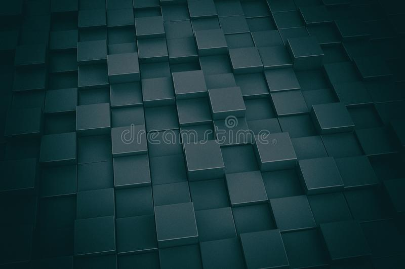 Dark blue 3d boxes background stock photography