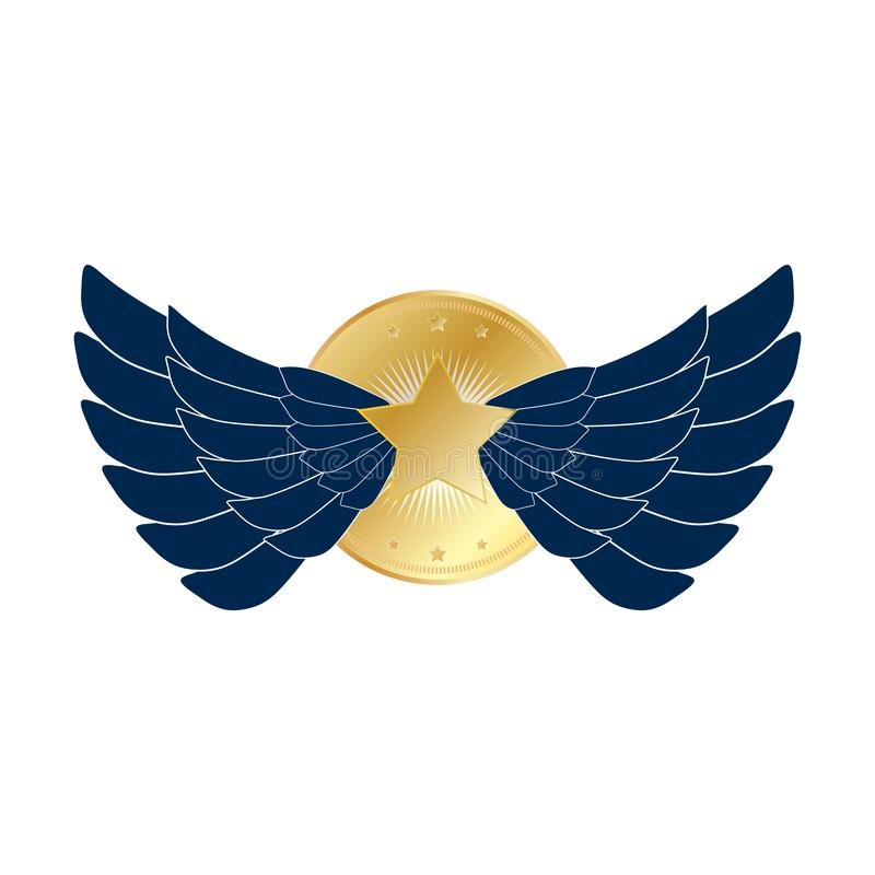 Dark blue Eagle wings badge with gold stars. Wings emblem badge with big gold star in gold circle vector eps10 stock illustration