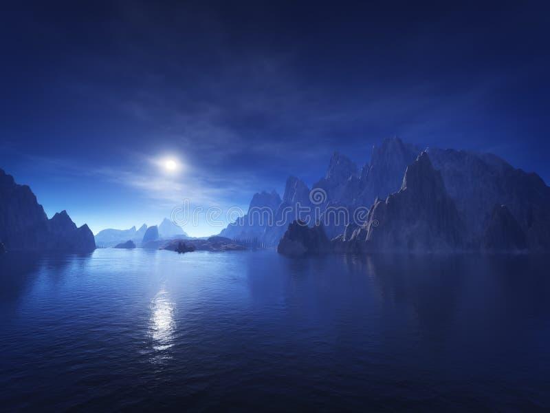 Dark blue fantasy landscape. 3d rendering of a dark blue fantasy landscape stock illustration