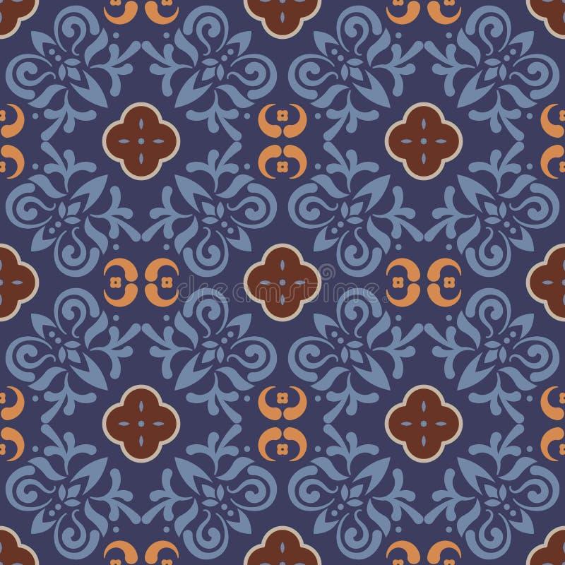 Dark blue floor tiles ornament vector pattern print. stock illustration