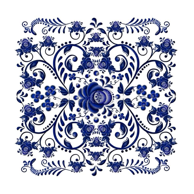 Dark blue floral ornament in national Russian style Gzhel on white background. royalty free stock image