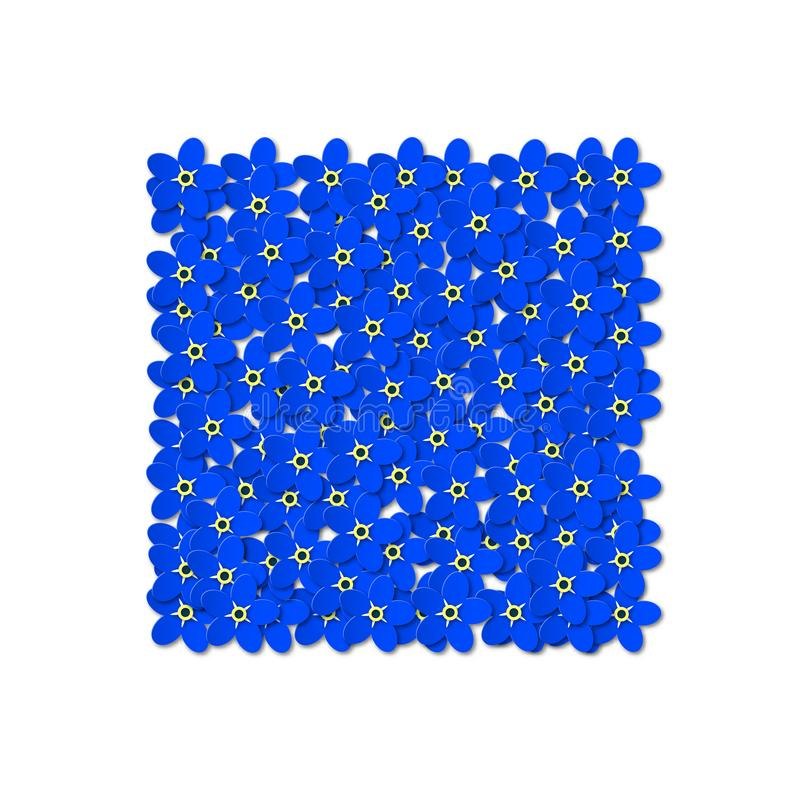 Dark blue flowers of forget-me-not with leaves on a white background. Design in the form of a square in the center stock illustration