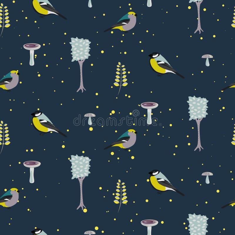 Dark blue forest seamless pattern with birds. stock illustration