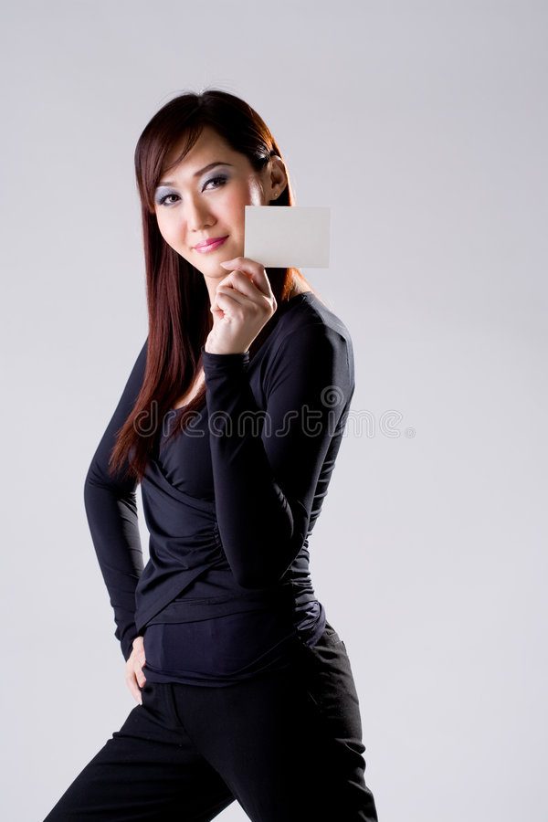Download Dark blue girl with card stock image. Image of adult, card - 3333387