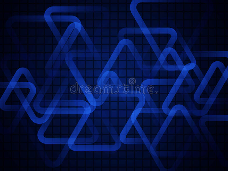 Dark blue glowing triangles. Abstract technology background. Geometric background vector illustration
