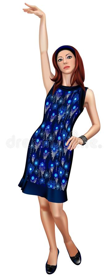 Dark blue gown model. Fashion model in dark blue evening gown standing in pin-up manner with one arm up. Vector illustration royalty free illustration