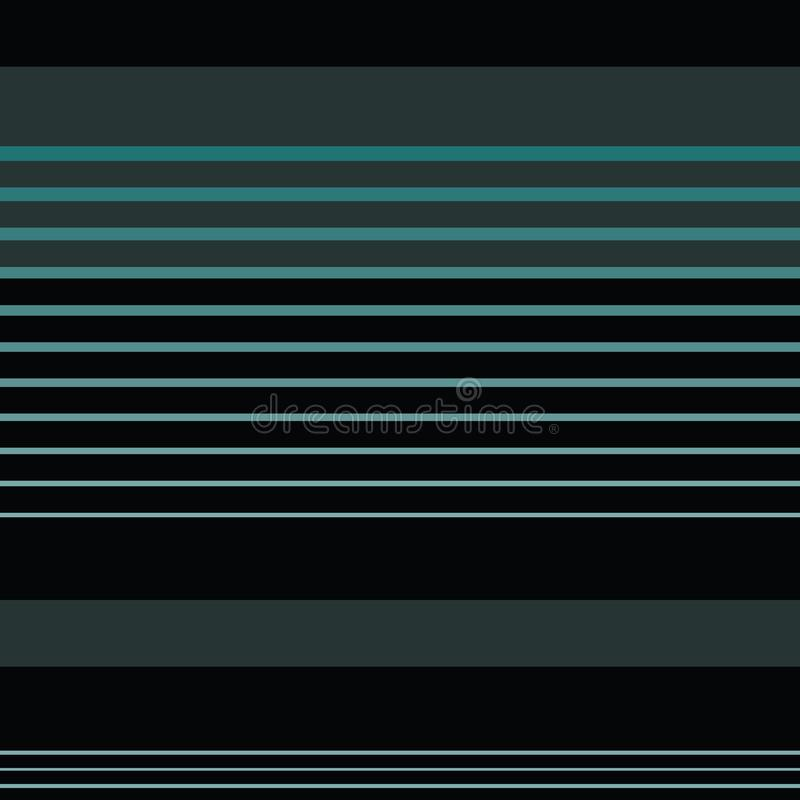 Dark blue and grey horizontal striped design in sophisticated layout. Seamless geometric vector pattern on black royalty free illustration