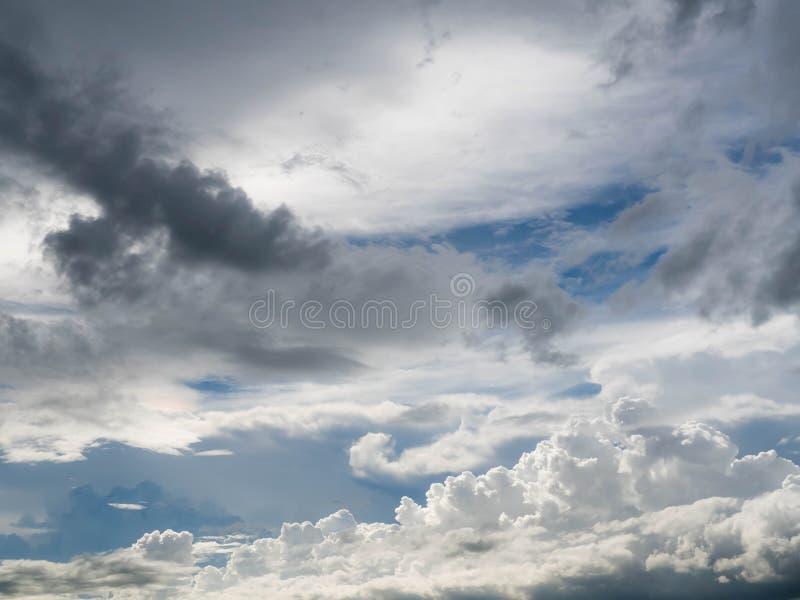 Dark blue grey layered clouds sky cover sun before raining.  royalty free stock photos