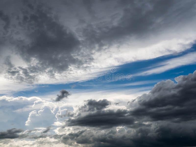 Dark blue grey layered clouds sky cover sun before raining.  royalty free stock photo