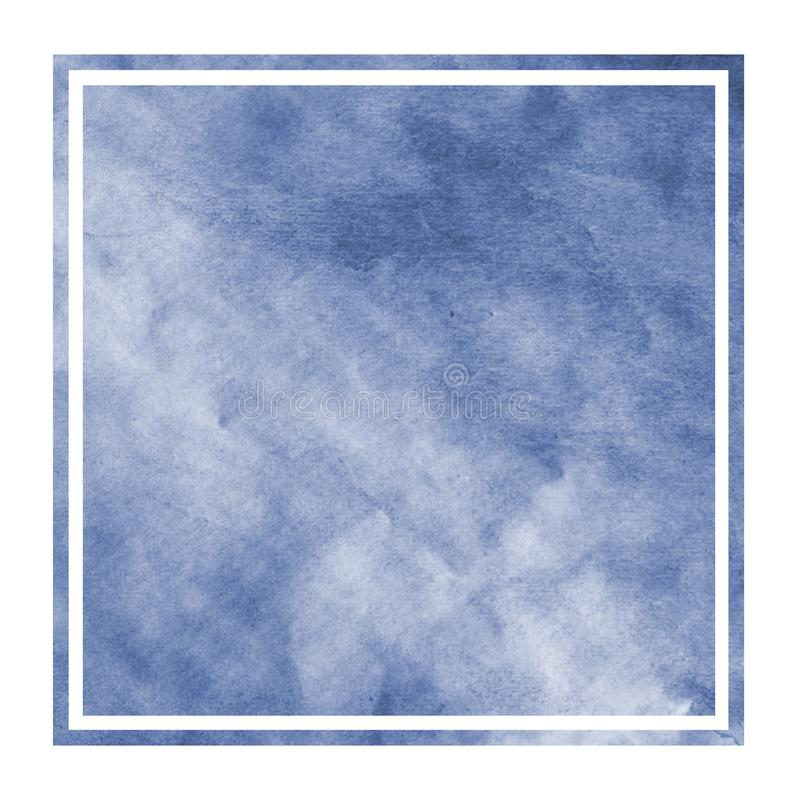 Dark blue hand drawn watercolor rectangular frame background texture with stains. Modern design element royalty free stock photos