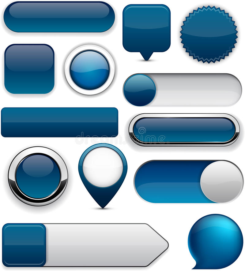 Free Dark-blue High-detailed Modern Buttons. Royalty Free Stock Photos - 25985408