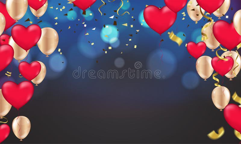 Dark blue holiday background with colorful shining bokeh and Party balloons vector illustration