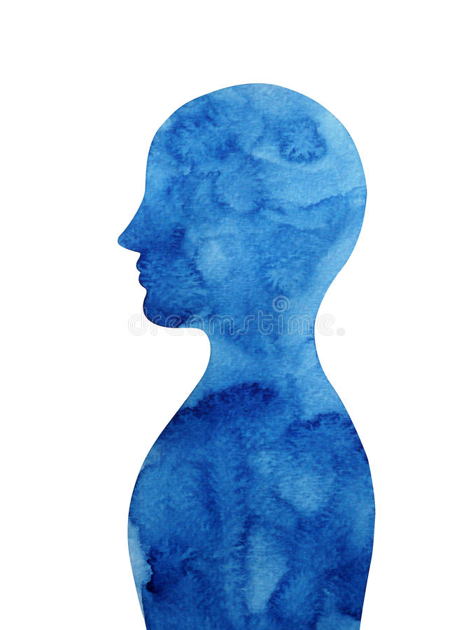 Dark blue human head thought mind, abstract watercolor painting vector illustration