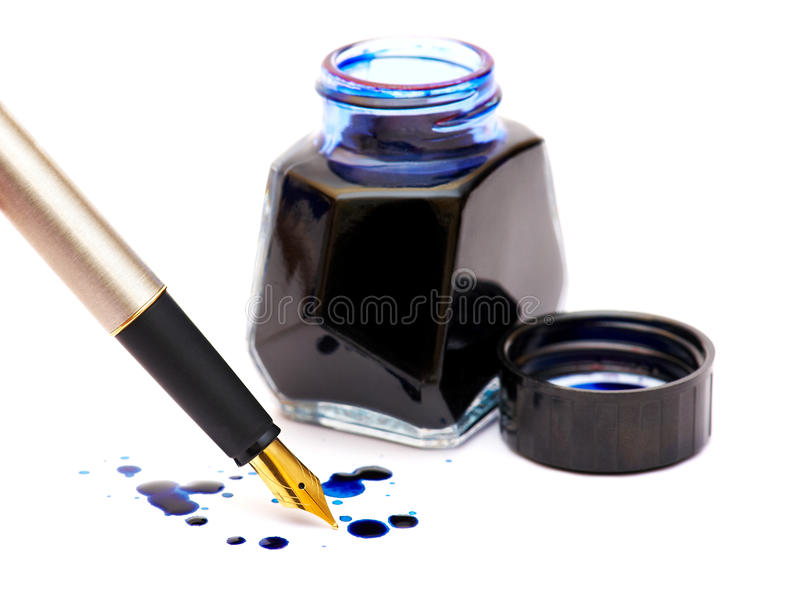 Download Dark blue ink and gold pen stock image. Image of expensive - 18226313