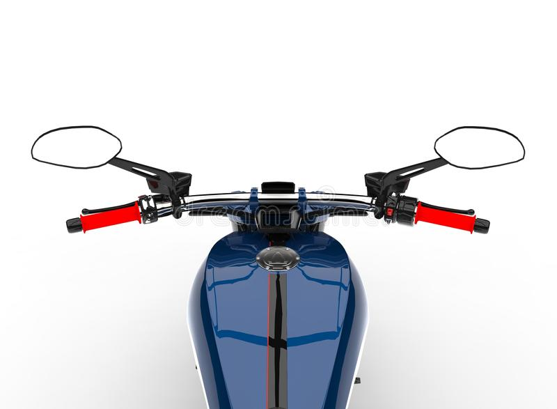 Dark blue modern motorcycle - riders point of view. Isolated on white background vector illustration