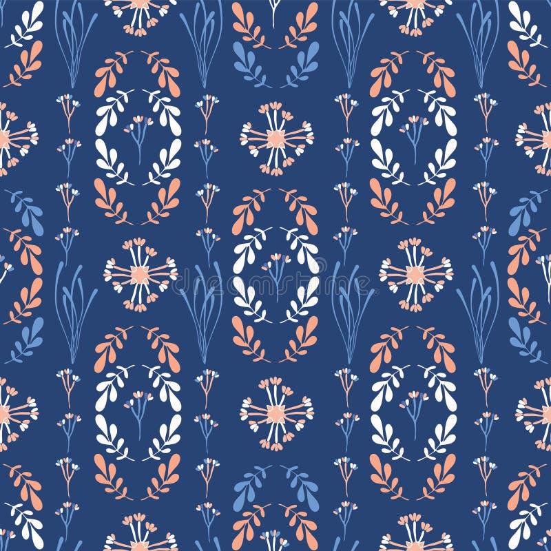 Dark Blue And Peach Wildflower Geo Vector royalty free illustration