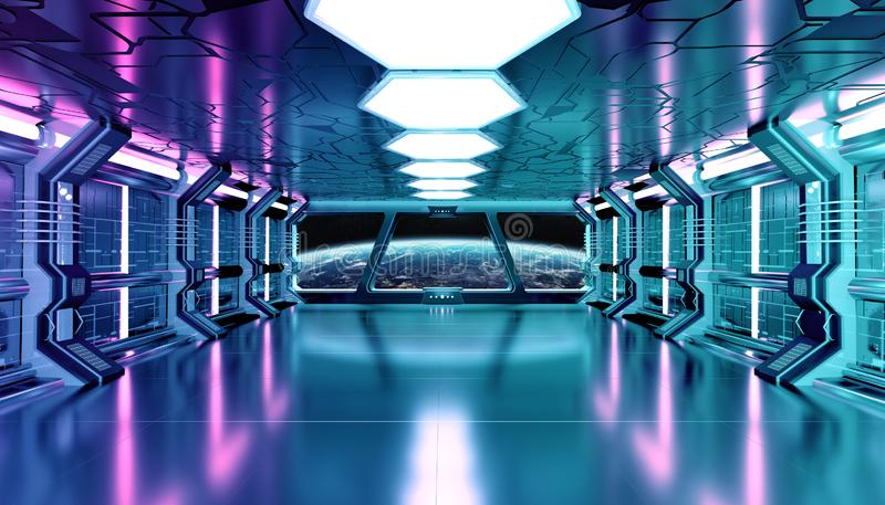 Dark blue pink spaceship futuristic interior with window view on planet Earth 3d rendering. Elements of this image furnished by NASA royalty free illustration