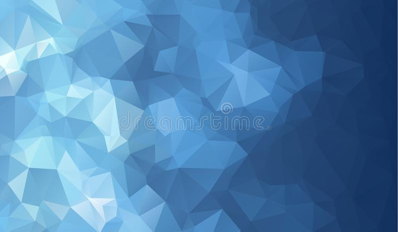 Dark blue shining triangular background. Creative geometric illustration in Origami style with gradient. royalty free illustration
