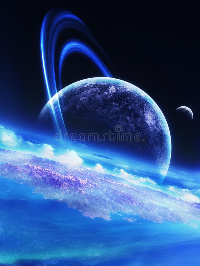 Dark Blue Sky. Blue and dark blue environment with clouds, island and huge ringed planet on the sky stock illustration