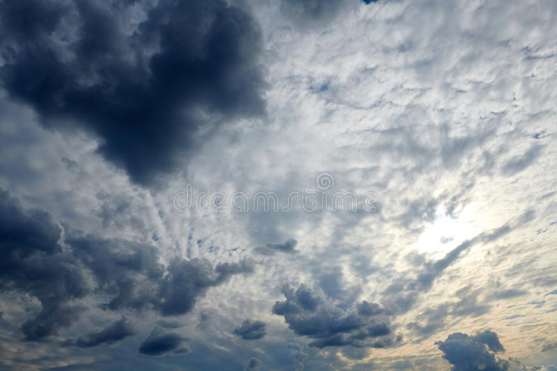 Dark blue sky with clouds for background or texture royalty free stock photography
