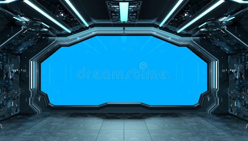 Dark blue spaceship futuristic interior mockup with window 3d rendering vector illustration