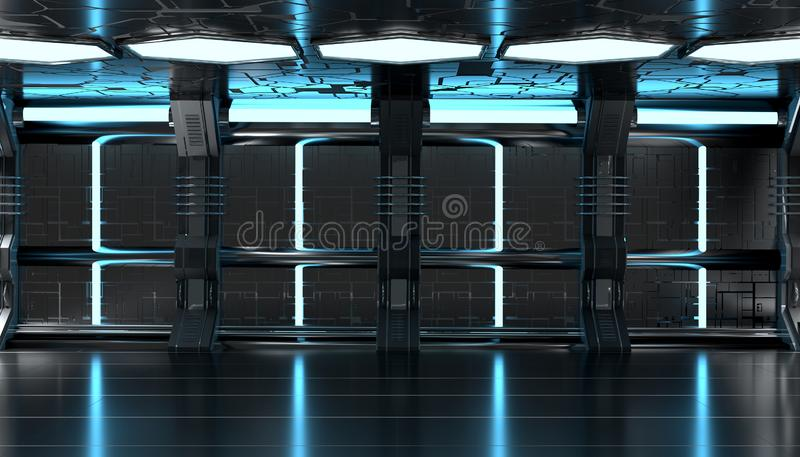 Dark blue spaceship futuristic interior with tech wall panel 3d rendering stock illustration