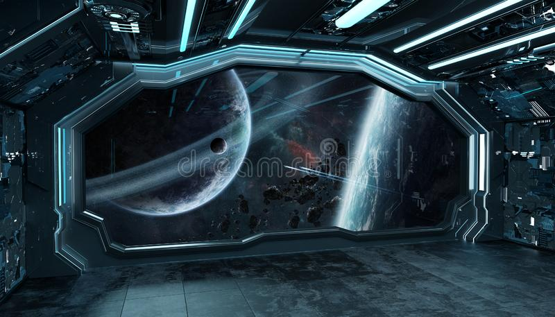 Dark blue spaceship futuristic interior with window view on space and planets 3d rendering stock illustration
