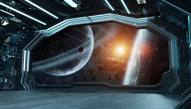 Dark blue spaceship futuristic interior with window view on space and planets 3d rendering vector illustration