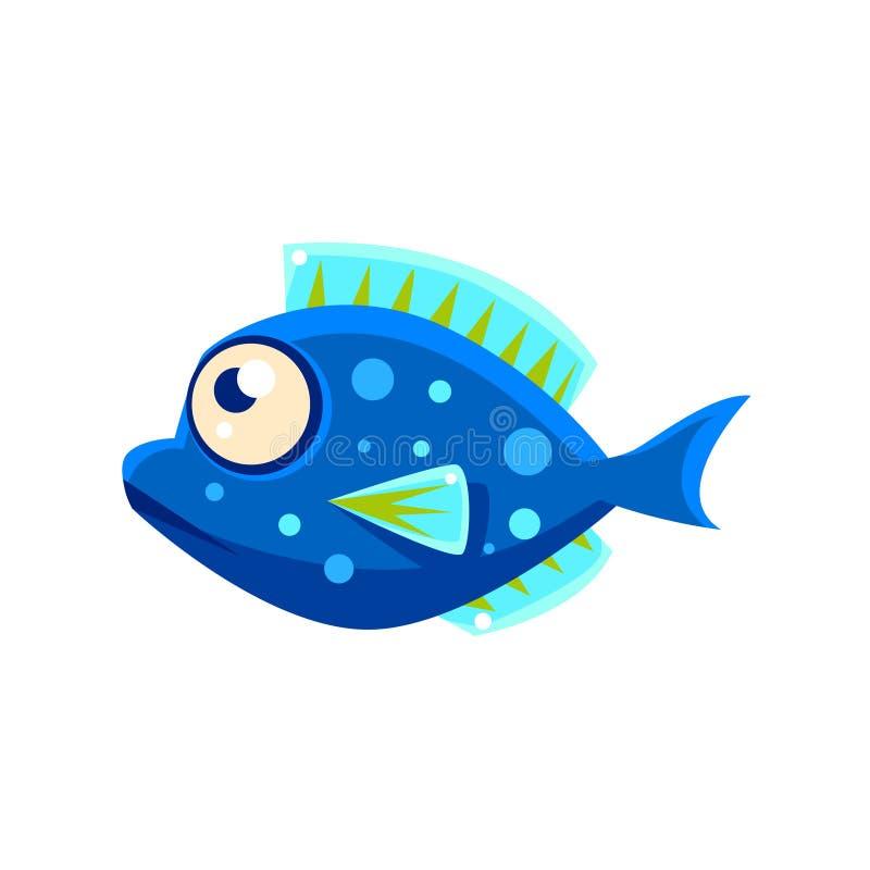 Free Dark Blue Spotted Fantastic Aquarium Tropical Fish Cartoon Character Royalty Free Stock Photos - 80311158