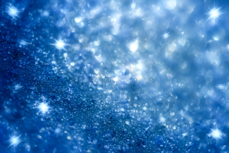Dark blue star and glitter sparkles background stock photo