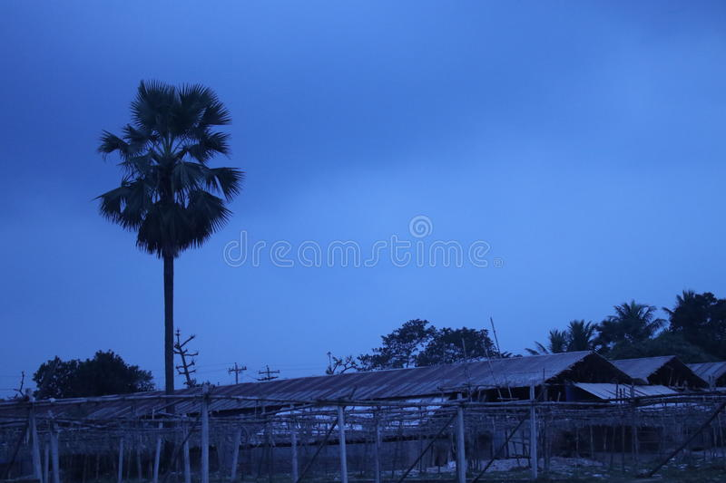Dark blue stormy cloudy sky under a tree and farm at sunset time royalty free stock photos