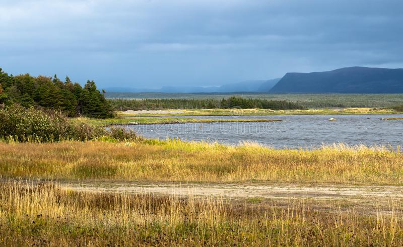 Small pond near Western Brook Newfoundland Canada on a dark stormy autumn day. Dark blue stormy sky over a wind stirred lake surrounded by low evergreens and a stock photography