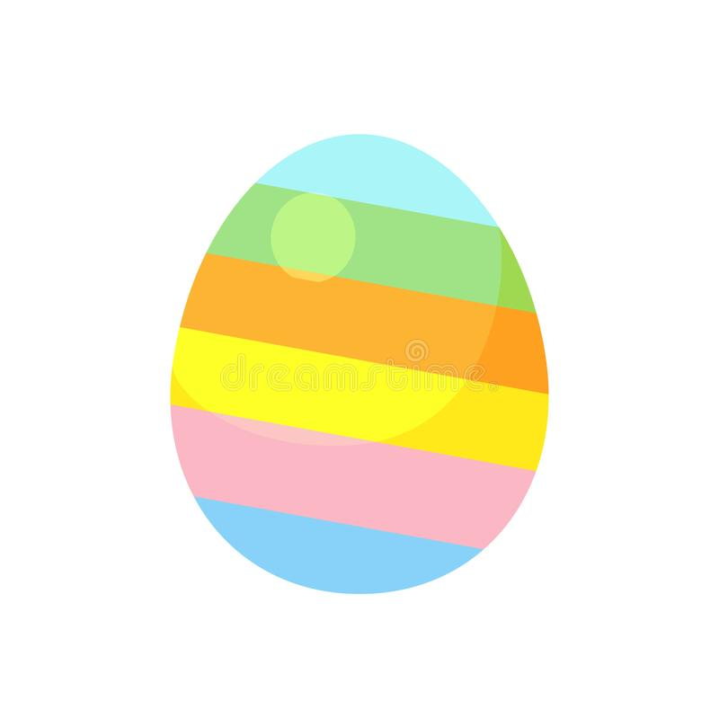 Dark blue striped easter egg with green and red diagonal lines vector illustration royalty free illustration